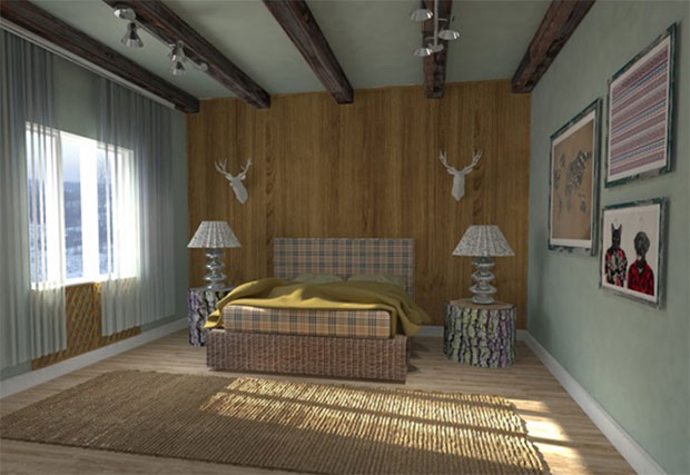 Mid--Century-Bedroom-with-Roof-Beams