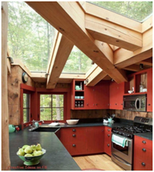 Unfinished-Thick-Oak-Beams-Roof-for-Kitchen