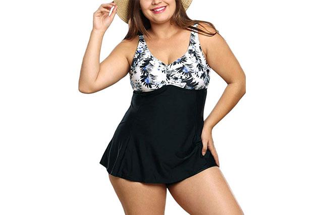 FeelinGirl Womens Plus Size Floral Halter Swimsuit