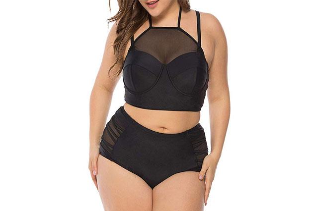 FeelinGirl Womens Plus Size Mesh Swimsuit