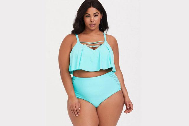 Mint Strappy Flounce Bikini Top