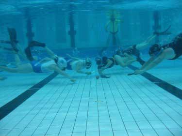 Playing Underwater Hockey
